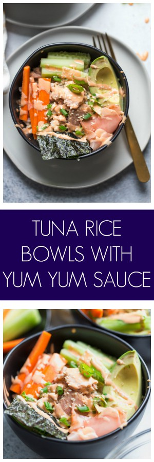 AD Tuna Rice Bowls with Yum Yum Sauce are a super easy and healthy meal made with StarKist Selects EVOO Yellowfin Tuna!