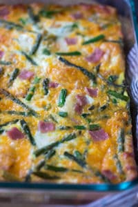 Asparagus Ham and Cheese Crescent Roll Breakfast Casserole