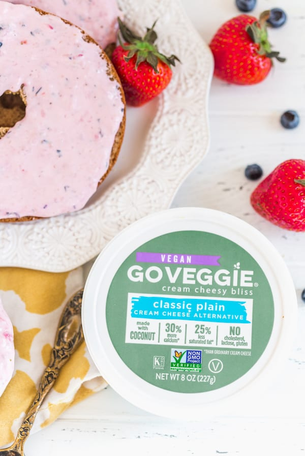 Berry Cream Cheese Spread with Vegan Go Veggie Cream Cheese Bliss on the Side