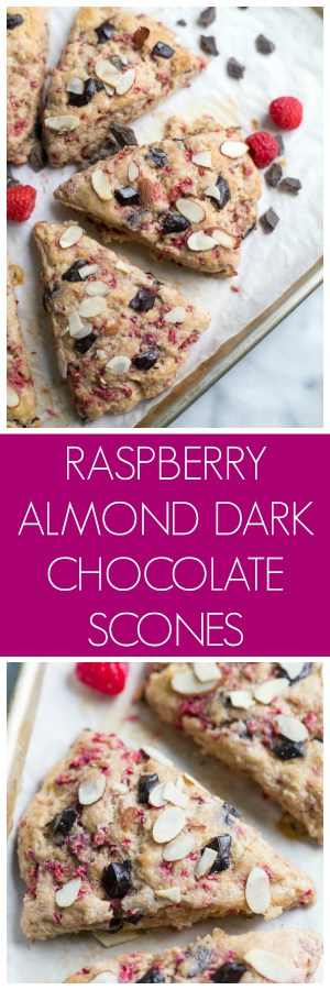 Raspberry Almond Dark Chocolate Scones Super Long Collage with Text Overlay