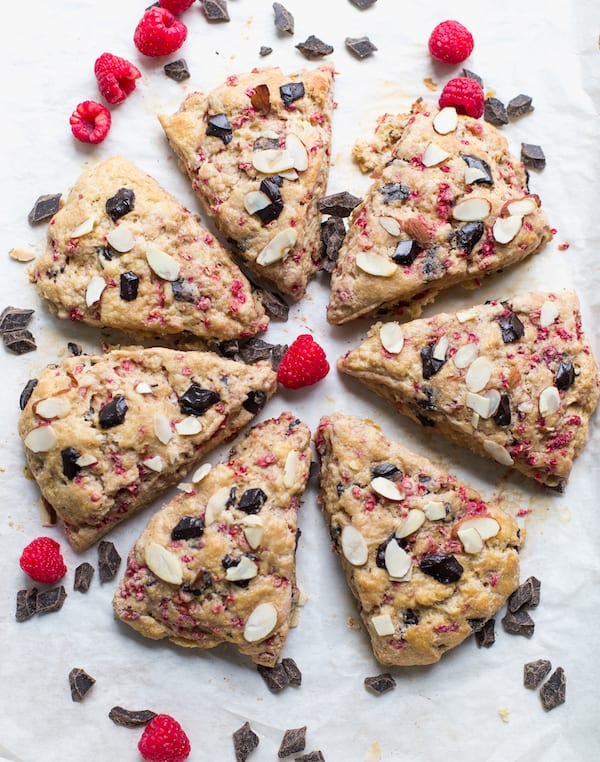 Raspberry Almond Dark Chocolate Scones Served in a Beautiful Shape
