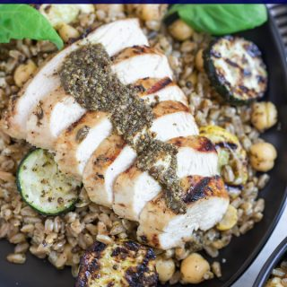 Grilled Pesto Chicken Farro Salad