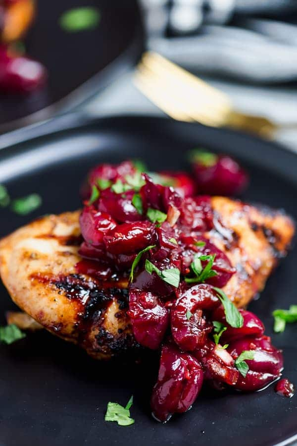 Grilled Chicken with Cherry Balsamic Sauce served in a pan