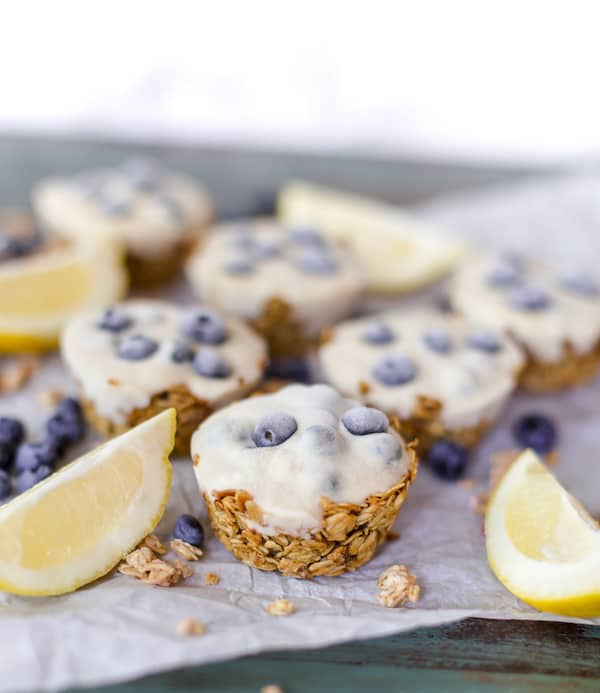 Delicious healthy cups with pieces of lemon and a blurred background