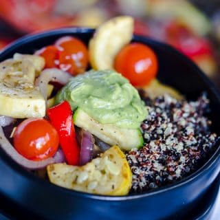 Grilled Summer Vegetable Quinoa Bowls with Basil Avocado Sauce