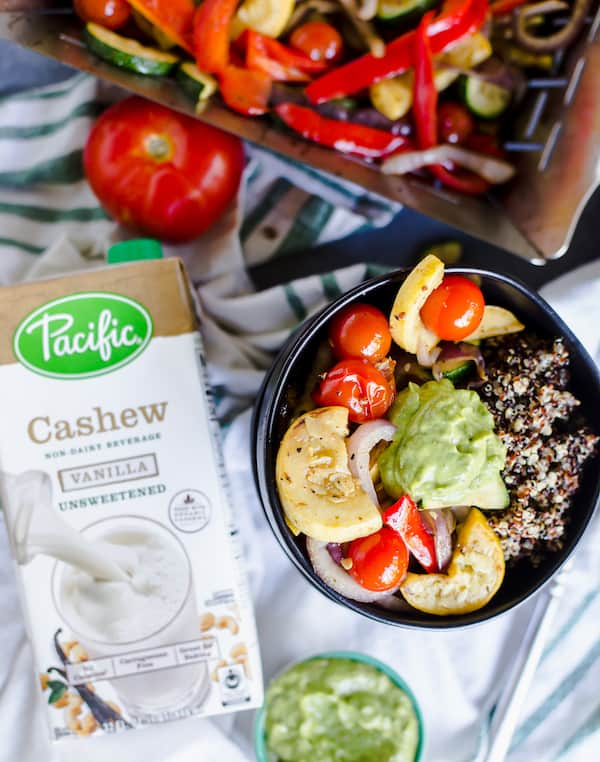 Delicious meal with Pacific® Cashew Unsweetened Vanilla on the side