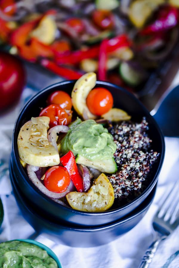 Grilled Summer Vegetable Quinoa Bowls with Basil Avocado Sauce served and ready