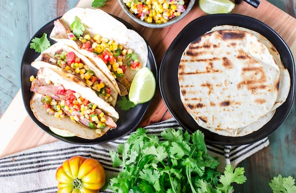 Delicious grilled tacos with and without toppings