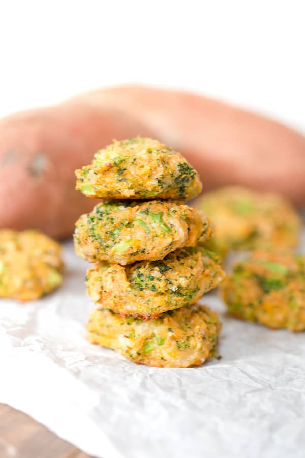 A tower of Sweet Potato Broccoli Patties