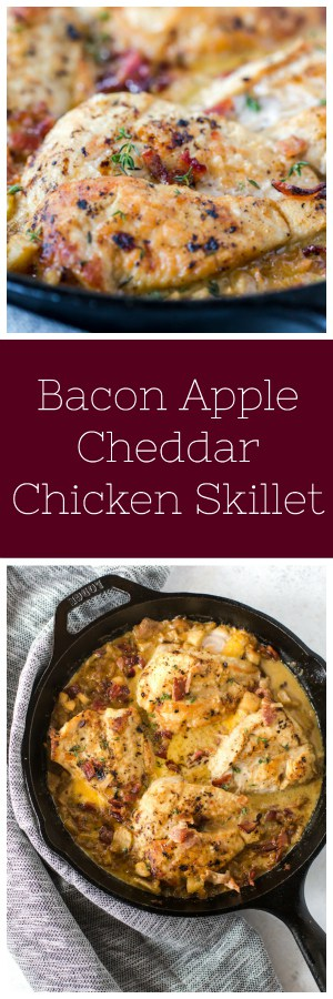 Bacon Apple Cheddar Chicken Skillet