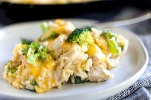 One Skillet Broccoli Cheddar Chicken Rice