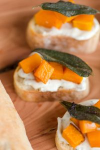 Butternut Squash and Whipped Sage Cream Cheese Crostini's