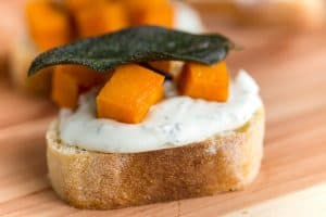 Butternut Squash and Whipped Sage Cream Cheese Crostini