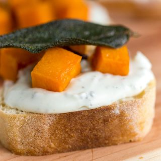 Butternut Squash Whipped Sage Cream Cheese Crostini