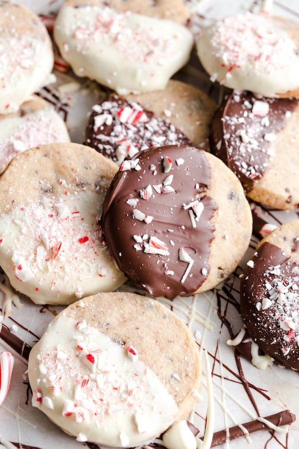 Peppermint Chocolate Chunk Shortbread Cookies