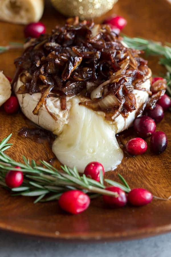 Red Wine Caramelized Onion Baked Brie