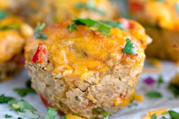Cheesy Chicken Taco Meatloaf Muffins - Delicious Closeup