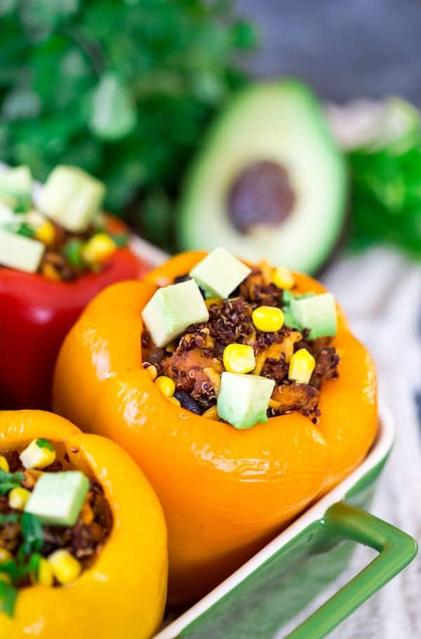 Mexican Chicken and Quinoa Stuffed Peppers