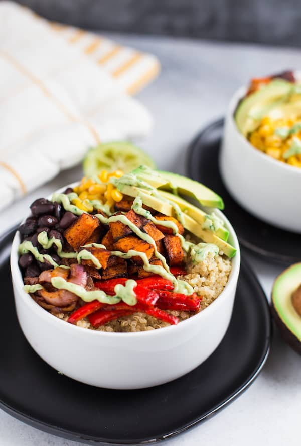 Vegetarian Quinoa Burrito Bowls with Avocado Cream Sauce