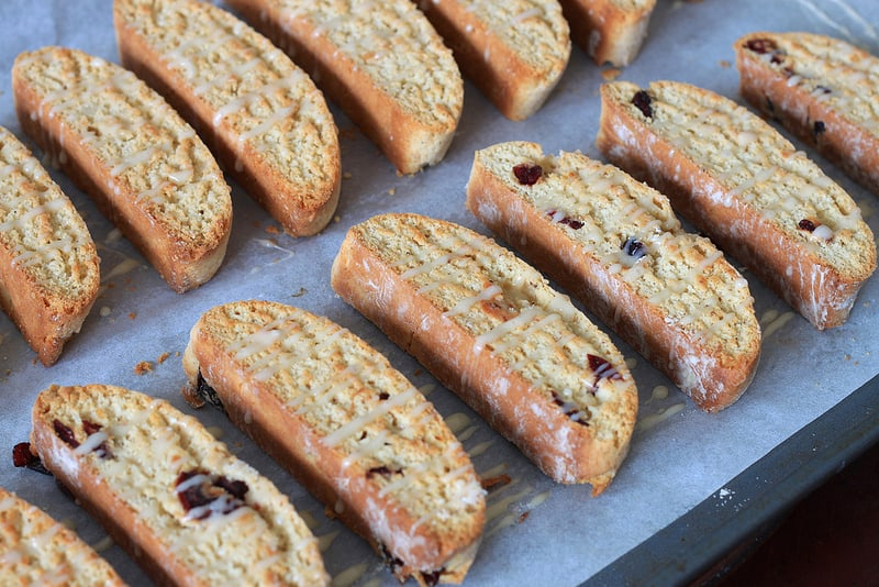 Cranberry Eggnog Biscotti on the Tray Before Serving - Thirteen in Total