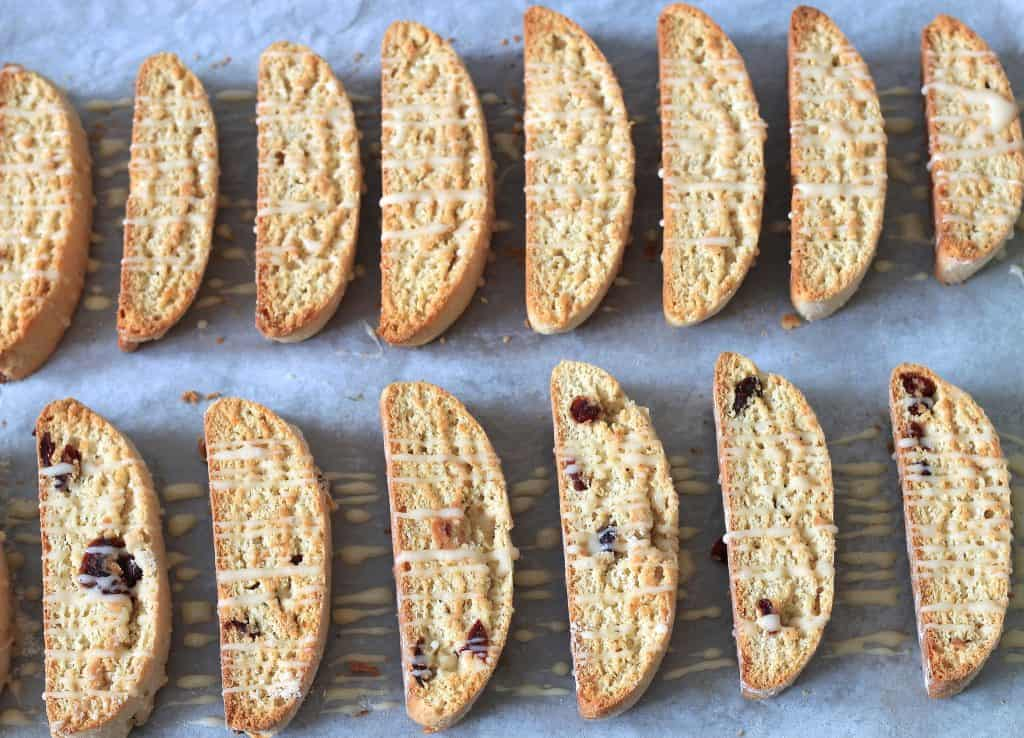 Cranberry Eggnog Biscotti Overhead on Fourteen Biscotti in the Tray Ready to Be Served to the Table