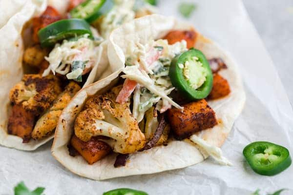 Roasted Cauliflower Sweet Potato Tacos