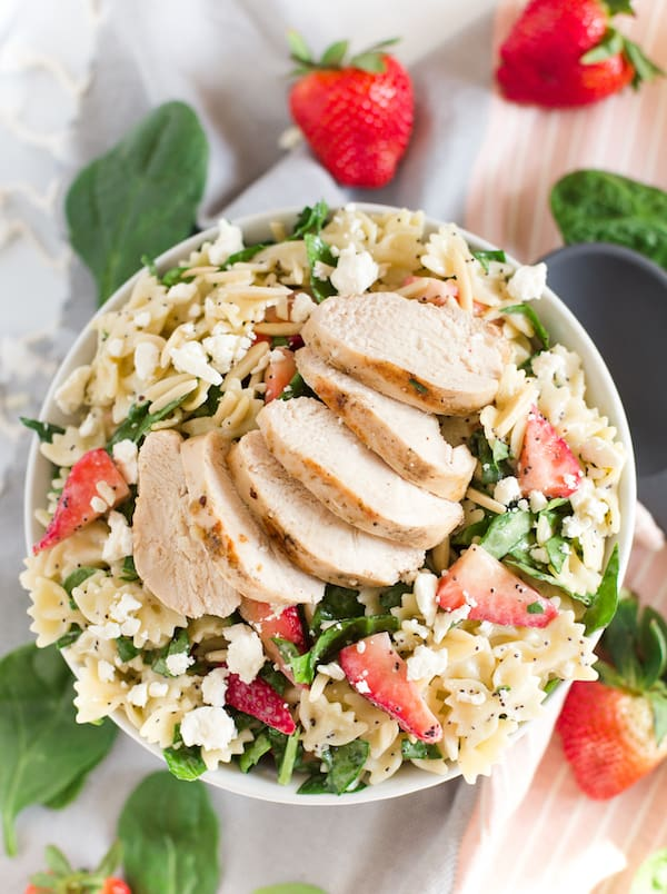 Grilled Chicken Strawberry Poppy Seed Pasta Salad