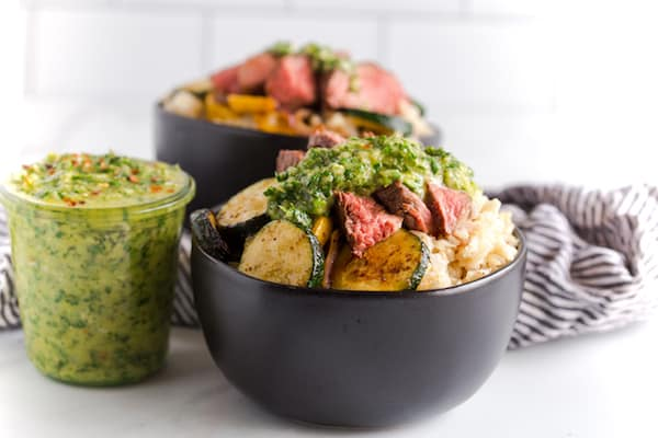 Chimichurri Steak and Vegetable Rice Bowls