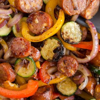 Grilled Cheddar Sausage and Pepper Skillet