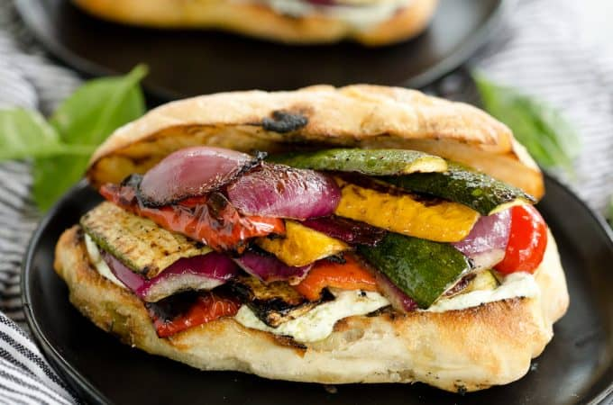 Grilled Vegetable Sandwiches with Whipped Basil Goat Cheese
