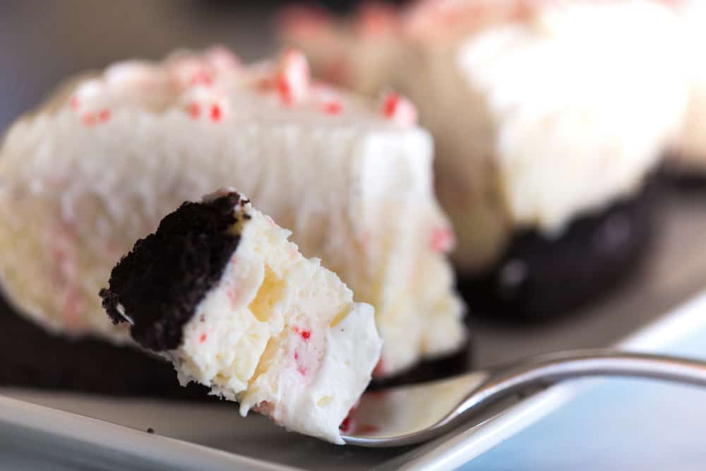 No Bake White Chocolate Peppermint Cheesecake