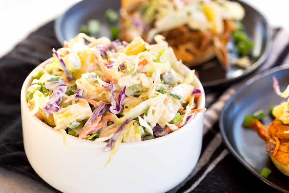 Slow Cooker Caribbean BBQ Chicken with Pineapple Coleslaw