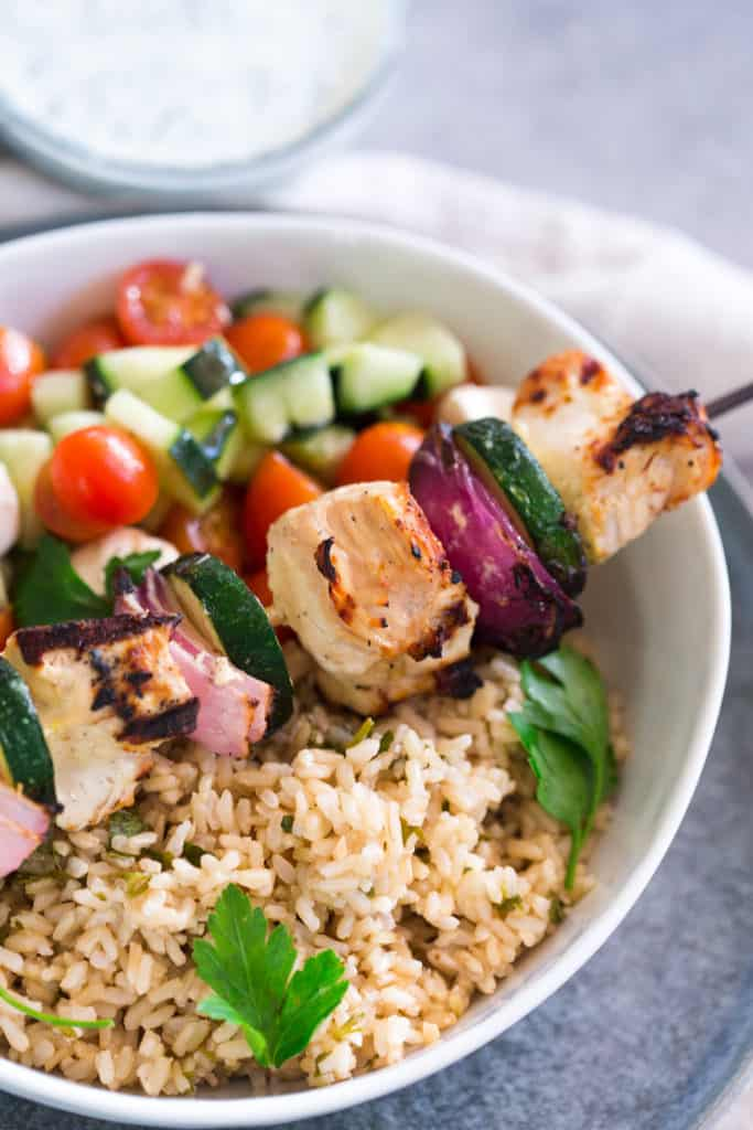 Grilled Greek Chicken Skewers