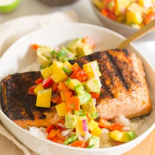 Grilled Salmon with Avocado Mango Salsa
