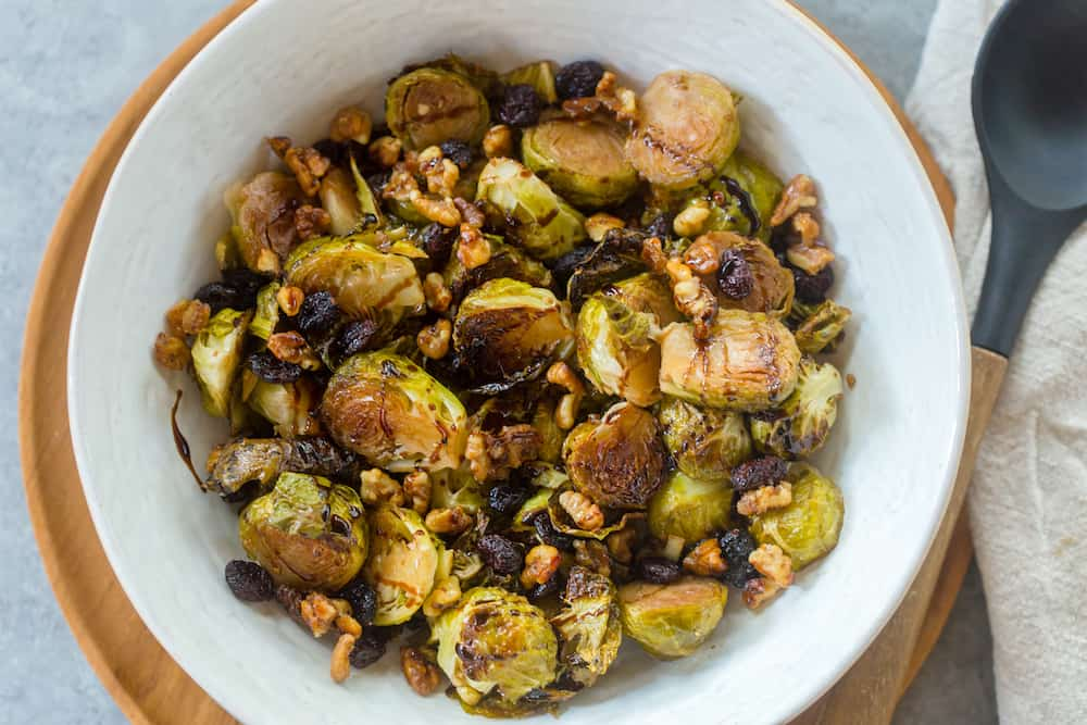 Balsamic Brussels Sprouts with Cranberries