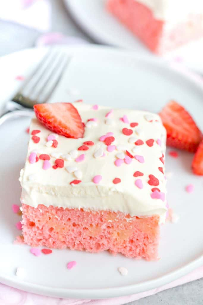 Strawberry Pudding Poke Cake