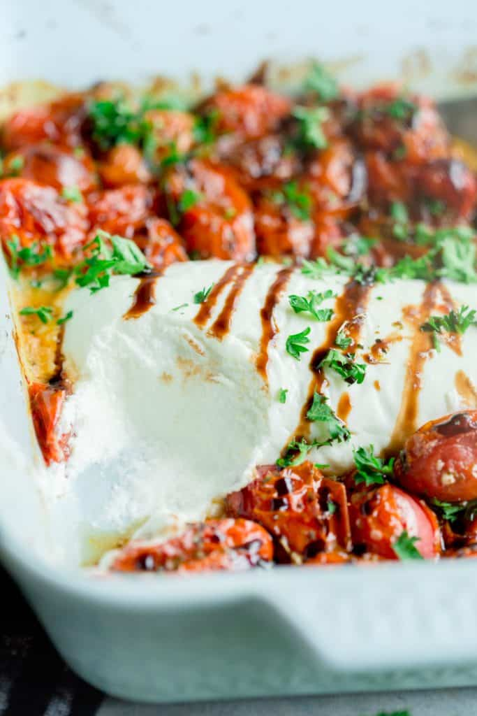 Baked Goat Cheese Dip with Roasted Tomatoes