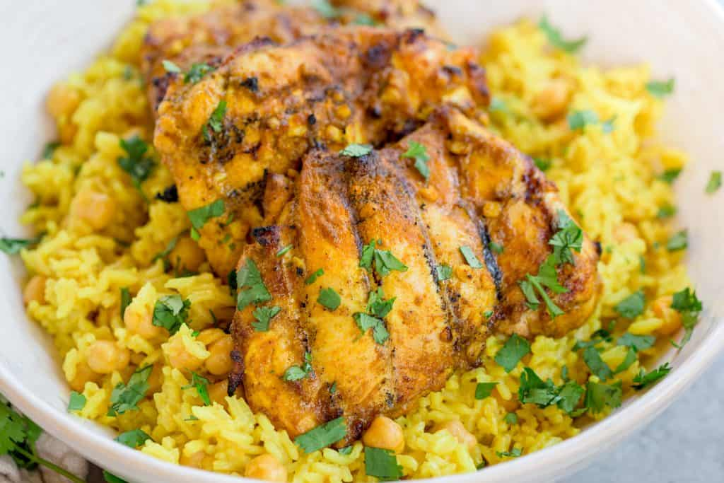 Grilled Curry Chicken with Turmeric Rice